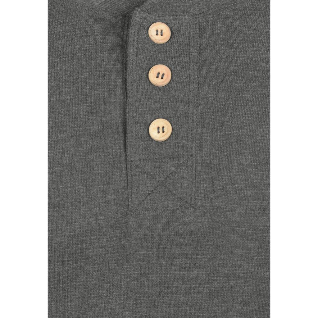 Solid Rundhalsshirt »Toki«, Kurzarmshirt mit Knopfleiste