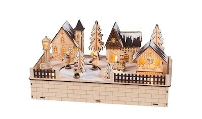 HGD Holz - Glas - Design Weihnachtsdorf mit beweglichen Figuren kaufen