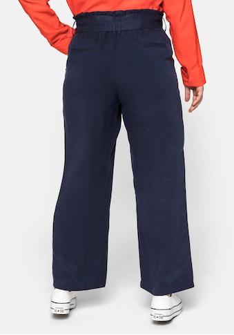 Sheego Stoffhose, in Knöchellänge, mit Bindegürtel kaufen