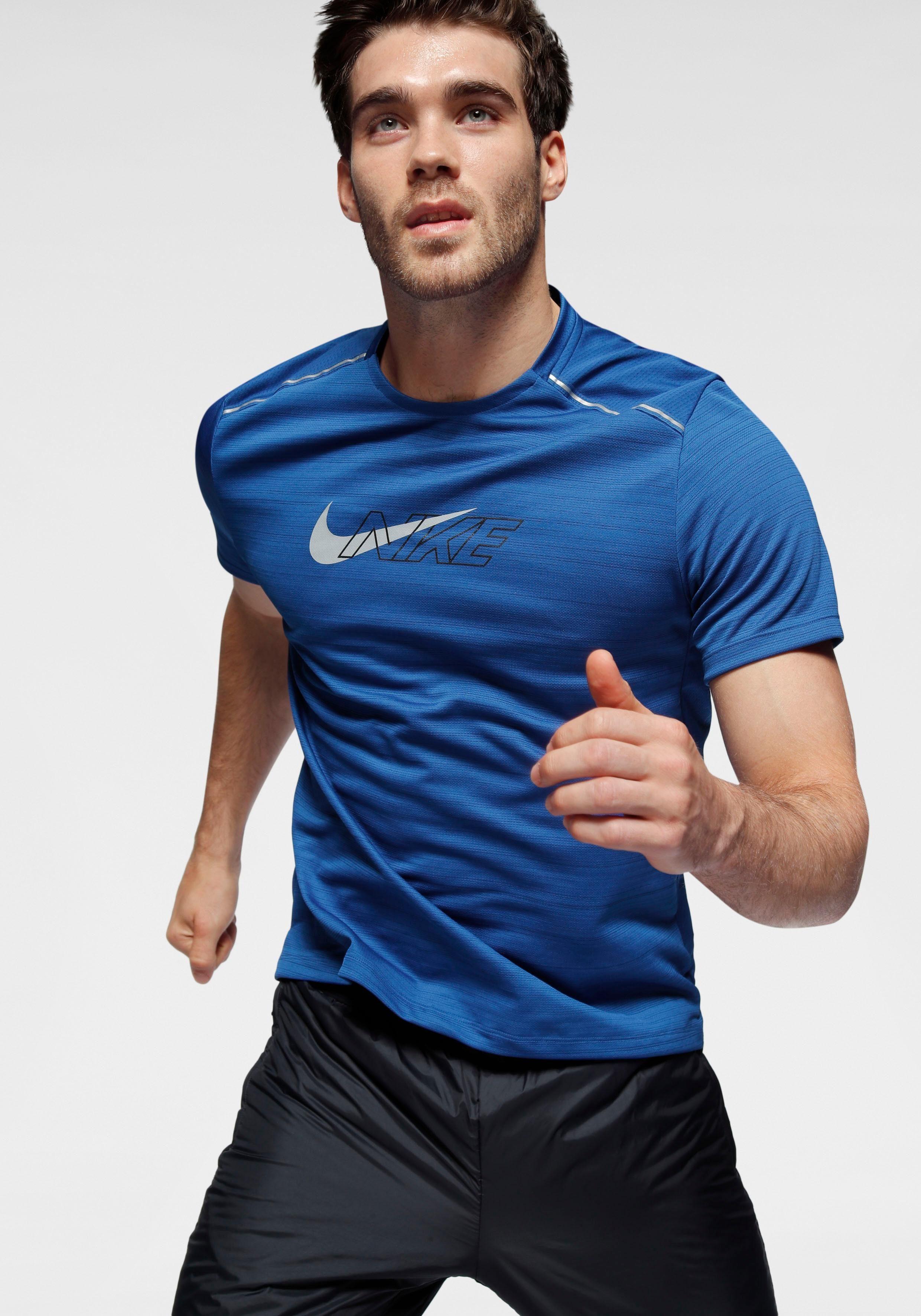 Nike Laufshirt M NK DF MILER SS FLASH NV | Sportbekleidung > Sportshirts | Blau | Nike