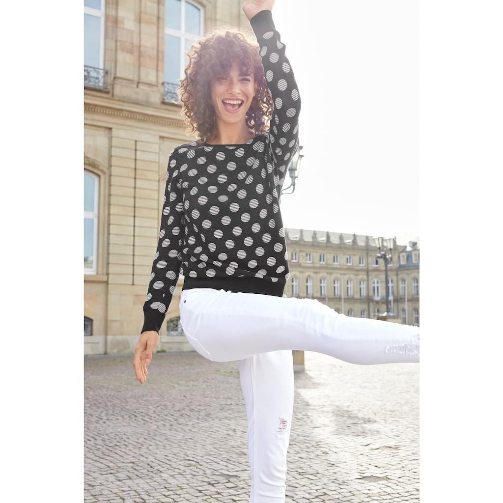 Aniston SELECTED Strickpullover, im modisch gestreiften Punkte-Design
