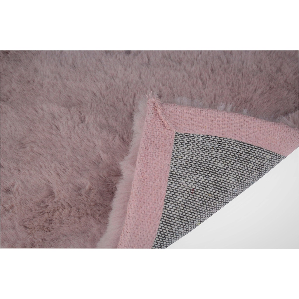 Dekowe Fellteppich »Roger«, rund, 20 mm Höhe, Kunstfell, Kaninchenfell-Haptik, ein echter Kuschelteppich, Wohnzimmer