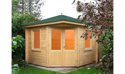 WOLFF FINNHAUS Set: Gartenhaus »Maria 44 - B«, BxT: 412x412 cm, inkl. Fußboden, grüne Schindeln, Dachhaube kaufen