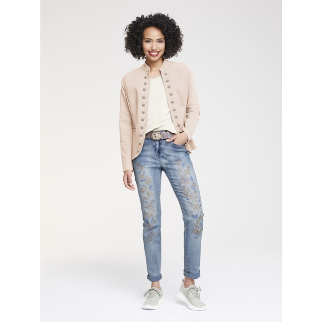 Bauchweg-Jeans Aleria mit Stickerei
