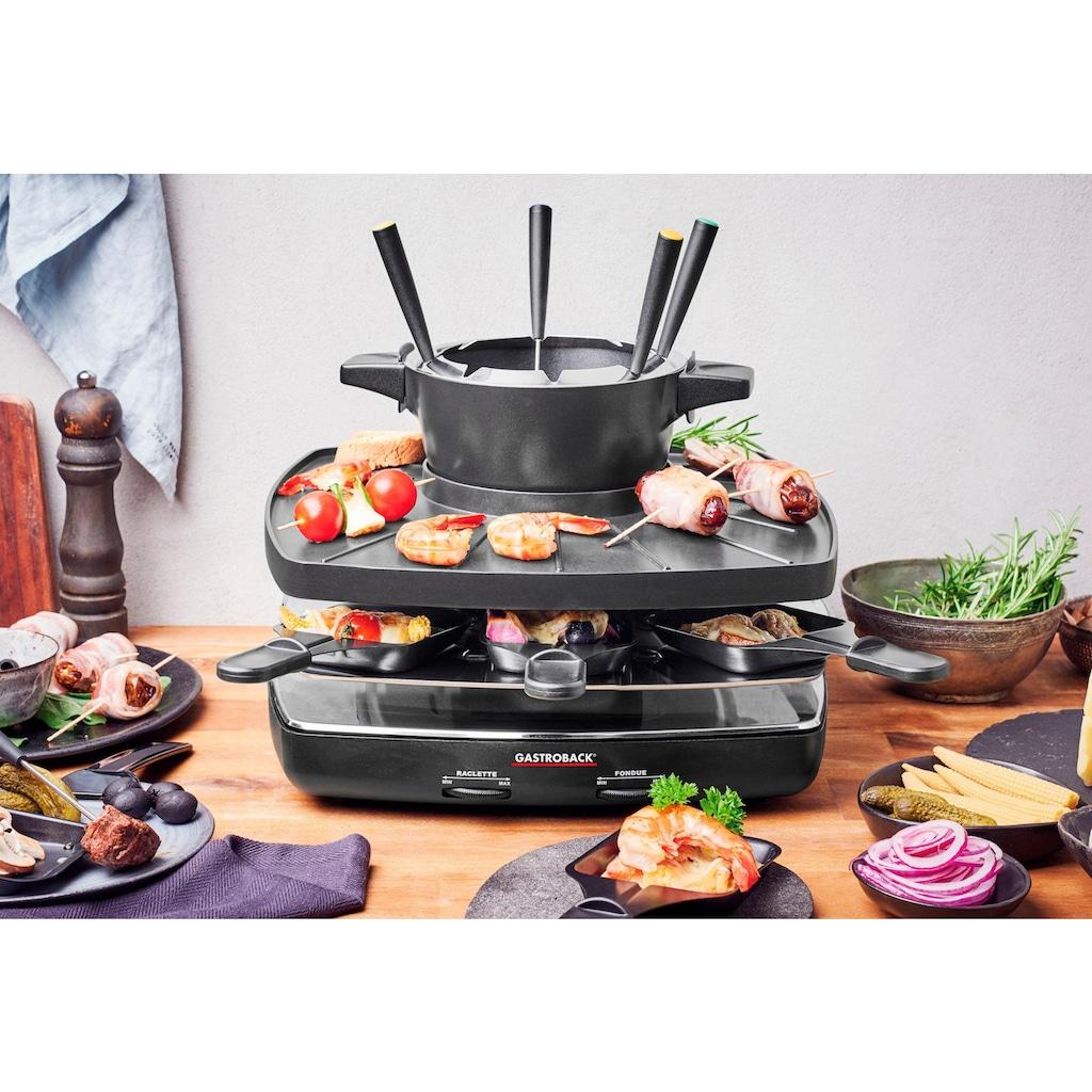 Gastroback Raclette und Fondue-Set »42567 Family and Friends«, 8 St. Raclettepfännchen, 1200 W