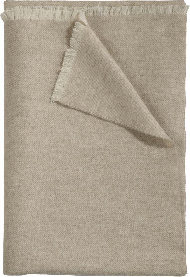 Curt Bauer Wolldecke Leino, mit feinen Fransen beige Wolldecken Decken
