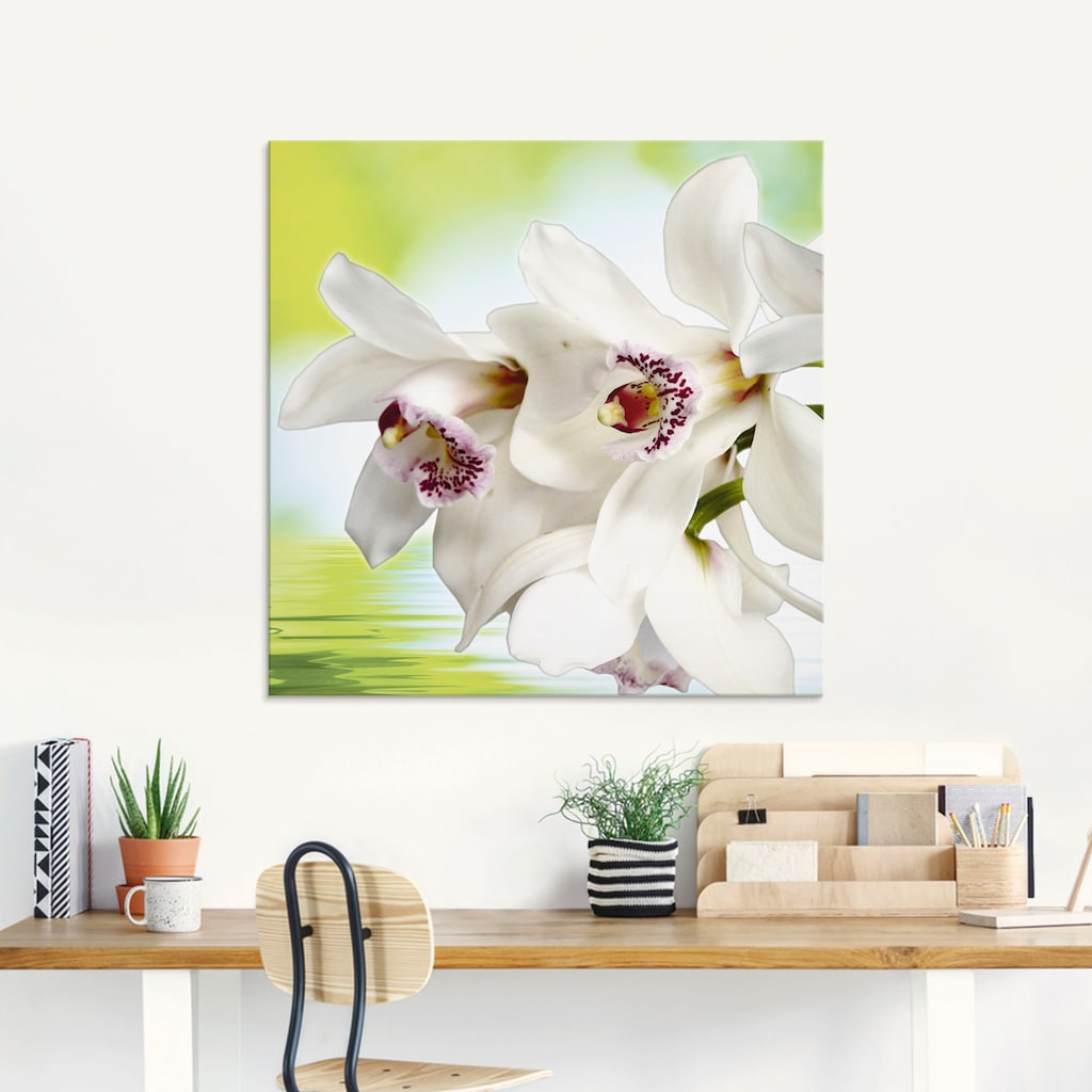 Artland Glasbild »Weiße Orchidee«, Blumen, (3 St.)