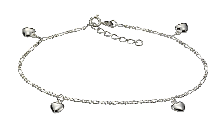 VIVANCE Fusskette 925/- Sterling Silber rhod mit Herzen | Schmuck > Fußschmuck | Weiß | Vivance