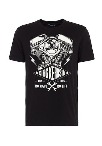 KingKerosin Print-Shirt »No Race No Life«, mit Frontprint im Bikerstyle kaufen