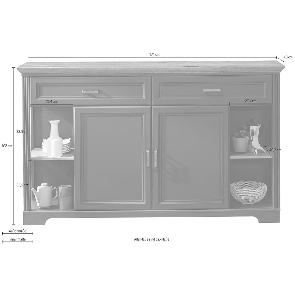 Innostyle Sideboard »Jasmin«, Breite 171 cm, 2 Holztüren, 2 Schubkästen, 4 offene Fächere