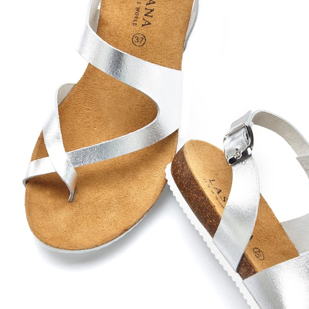 LASCANA Zehentrenner, aus Leder mit Korkfußbett