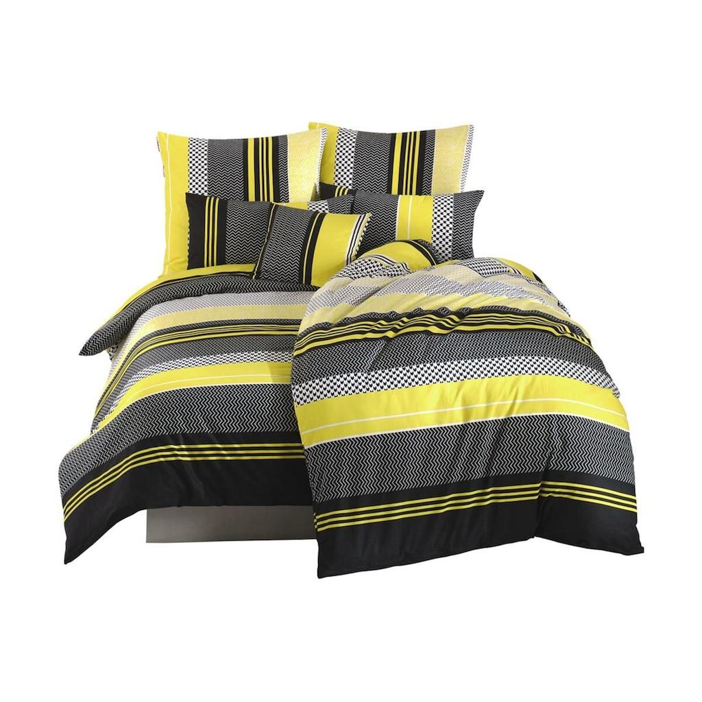 TRAUMSCHLAF Bettwäsche »Zigo Sari gelb schwarz«, raffiniertes grafisches Muster