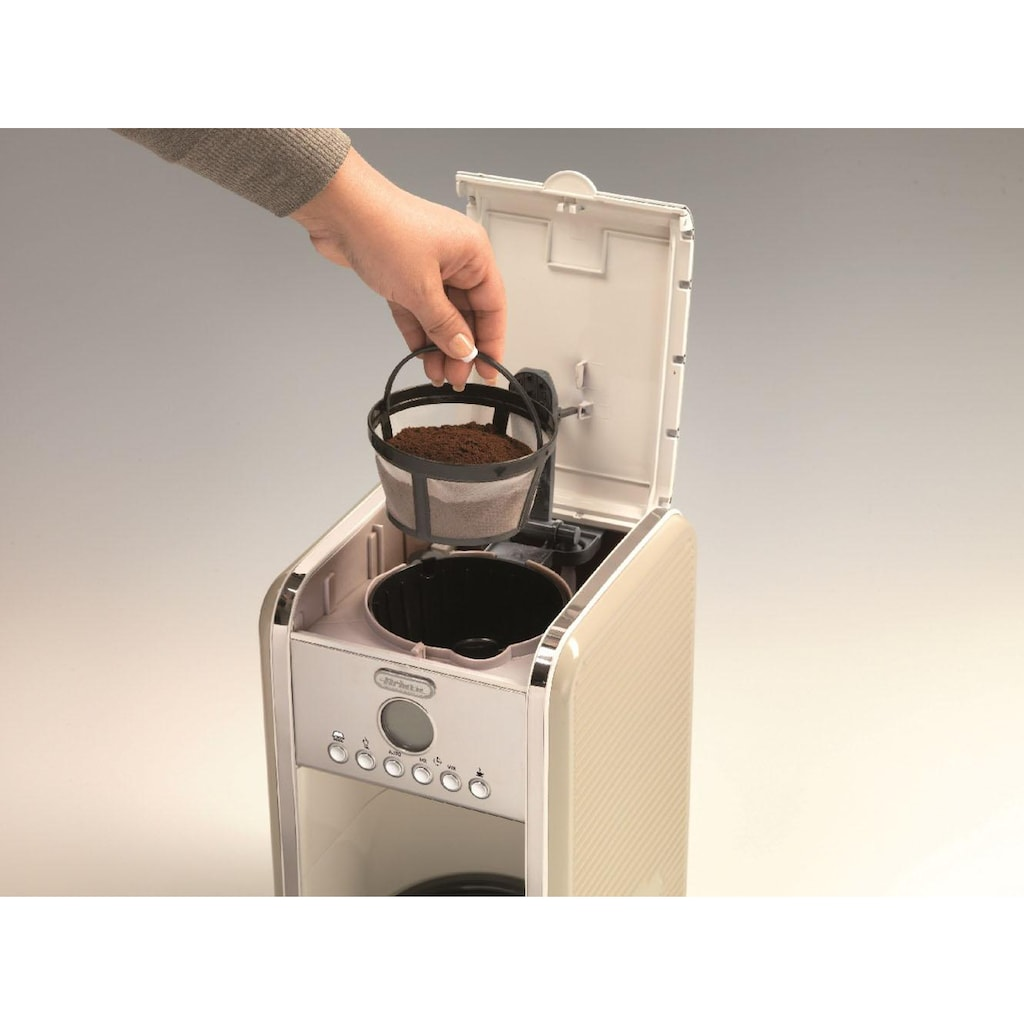 Ariete Filterkaffeemaschine »Vintage 1342, cremefarben«, Permanentfilter, Startzeit Kaffeezubereitung programmierbar und Unterbrechung der Zubereitung