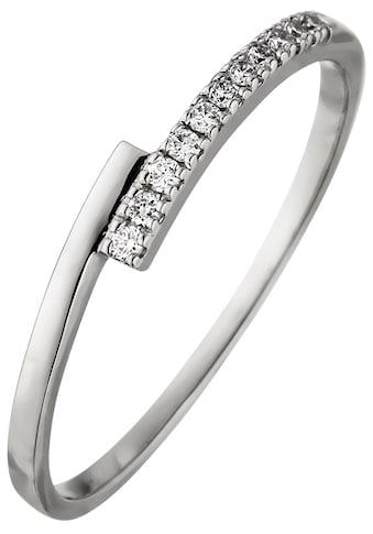 JOBO Fingerring, 585 Weißgold mit 11 Diamanten kaufen