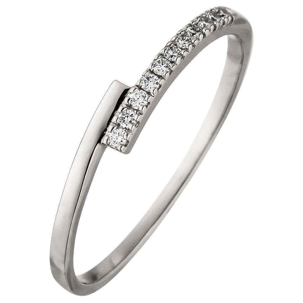 JOBO Fingerring, 585 Weißgold mit 11 Diamanten