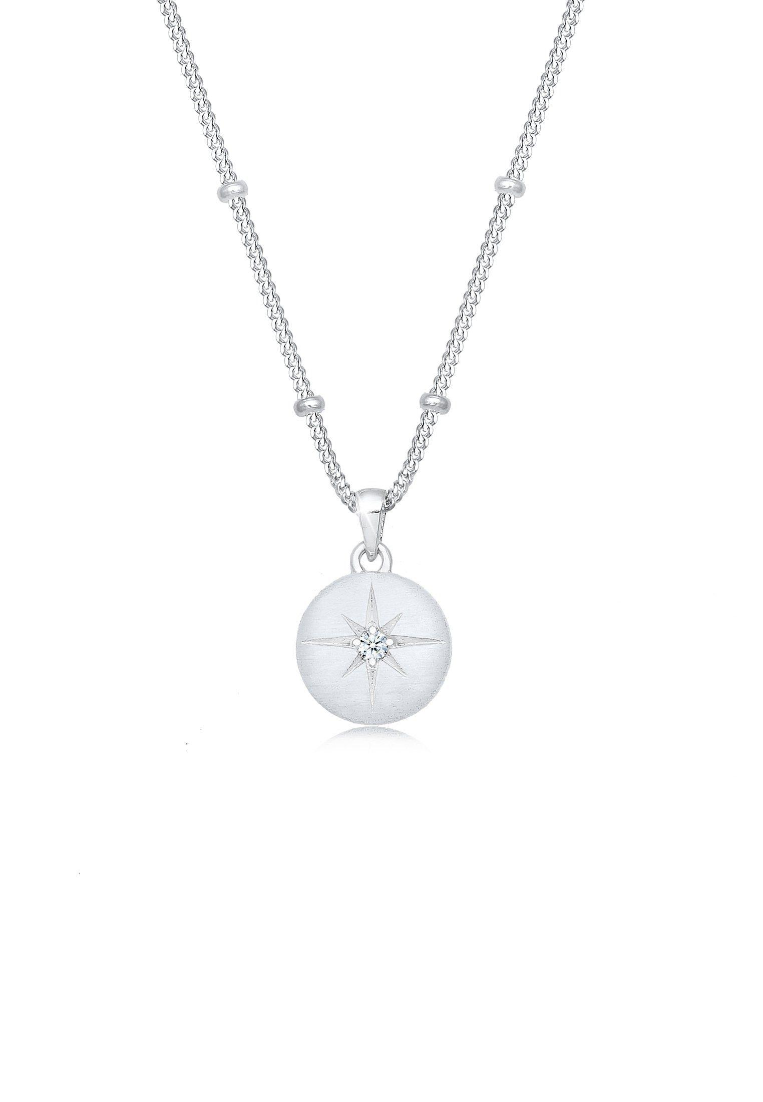 Elli Collierkettchen Panzerkette Stern Diamant (003 ct) 925 Silber | Schmuck > Halsketten > Panzerketten | Elli
