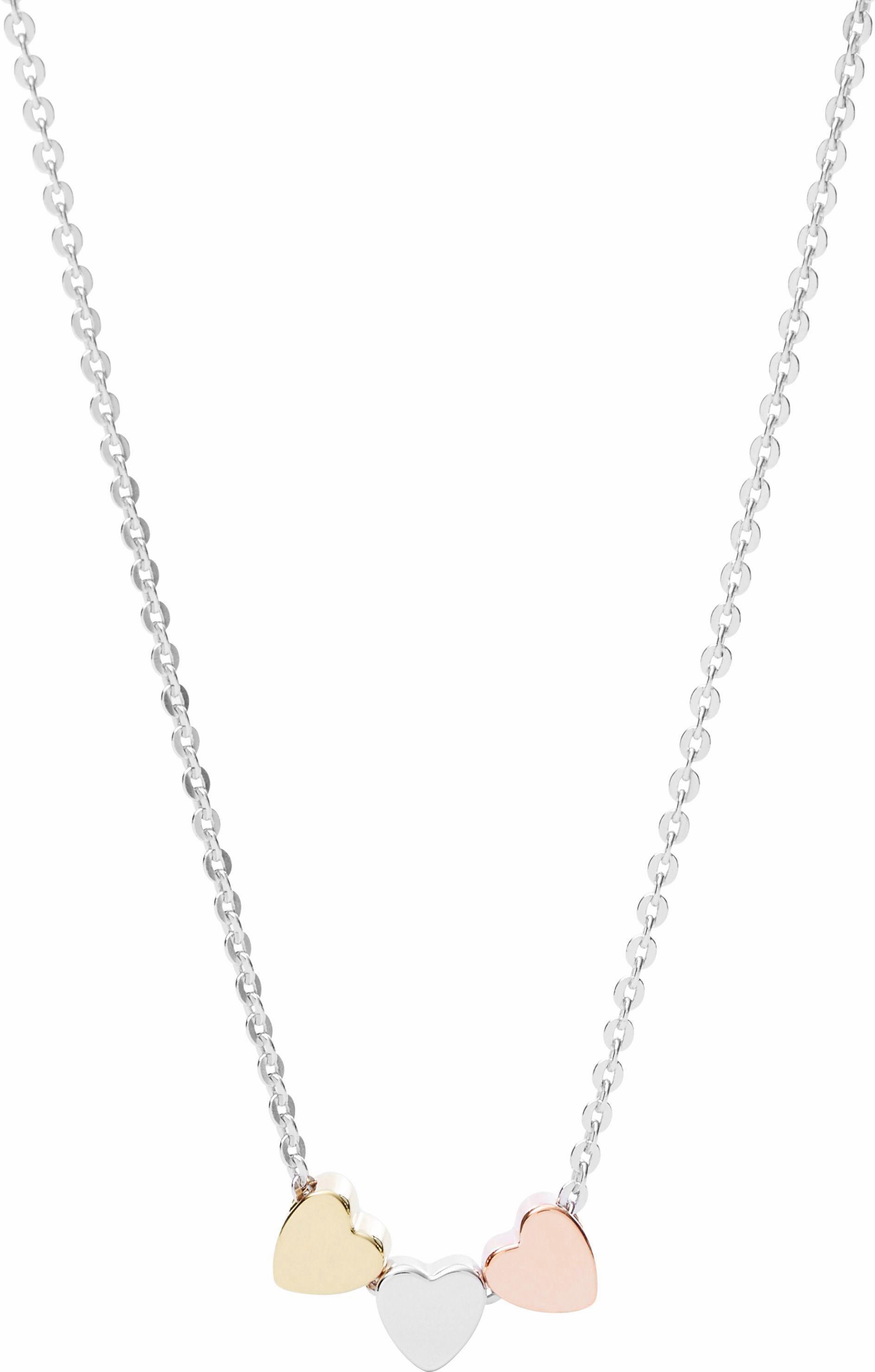 Fossil Kette mit Anhänger »Herzen, Sterling Silver, JFS00400998« | Schmuck > Halsketten > Herzketten | FOSSIL
