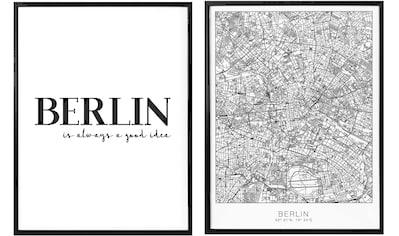 Wall-Art Poster »Berlin is always a good idea«, (Set, 2 St.), mit Rahmen, Poster, Wandbild, Bild, Wandposter kaufen