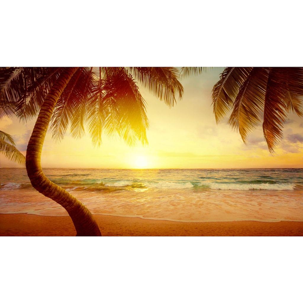 Papermoon Fototapete »Tropischer Strand Sonnenaufgang«, Vliestapete, hochwertiger Digitaldruck