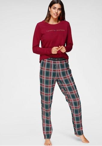 TOMMY HILFIGER Pyjama, mit karierter Hose und Logoschriftzug am Langarmshirt kaufen