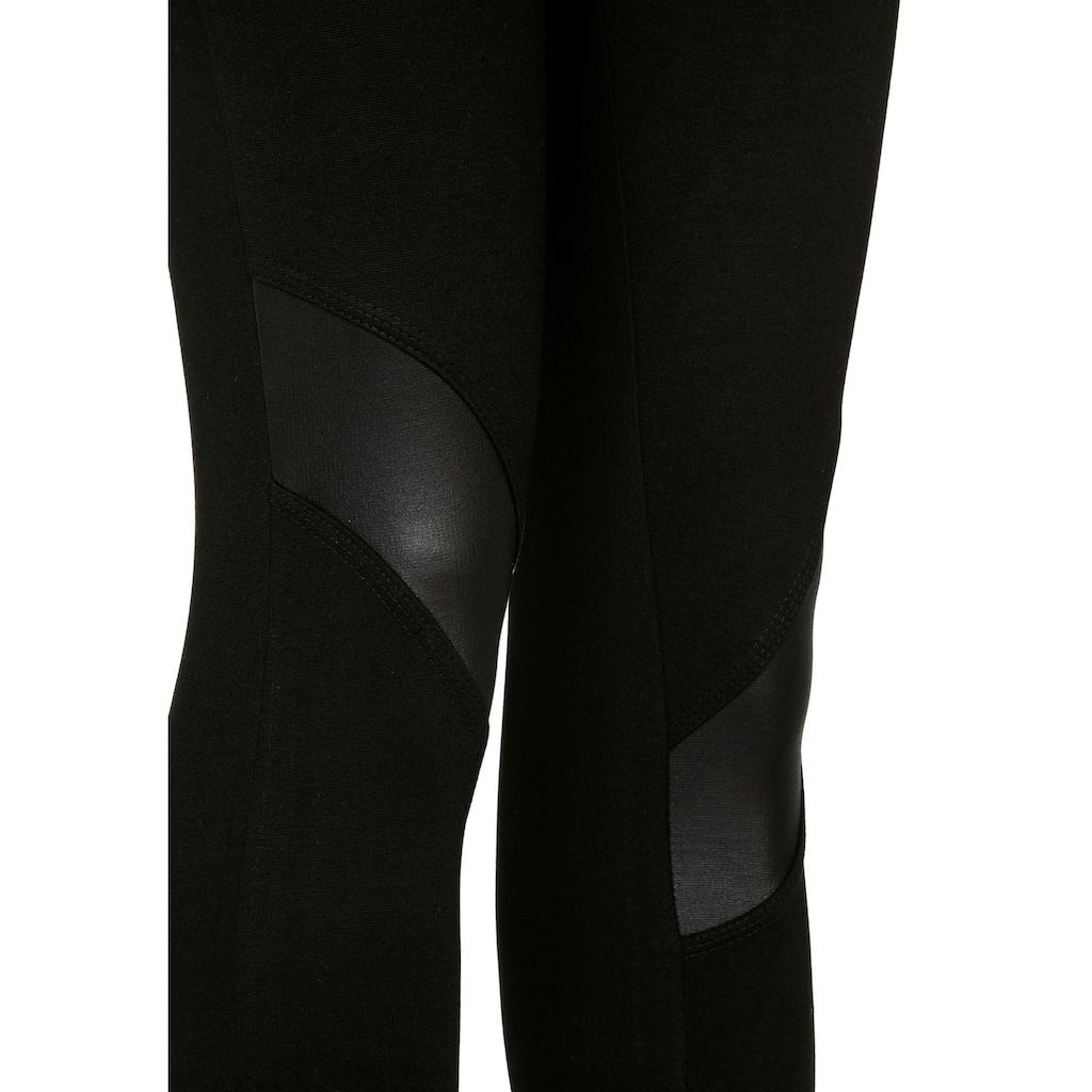 Cipo & Baxx Leggings, mit edlen Kunstlederpatches