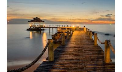 Papermoon Fototapete »Wooded bridge pier between sunset« kaufen