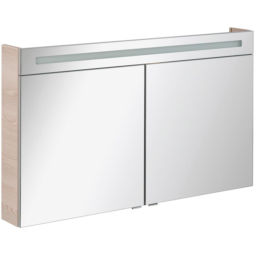 FACKELMANN Spiegelschrank »CL 120 - Alaska-Esche«, Breite 120 cm, 2 Türen, LED-Badspiegelschrank, doppelseitig verspiegelt