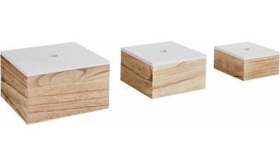 Zeller Present Aufbewahrungsbox, 3er Set, Holz, weiß/natur kaufen