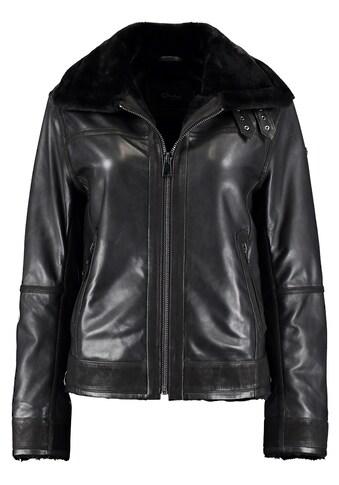 DNR Jackets Damen Lederjacke mit Kunstfelleinsatz und Außentaschen kaufen