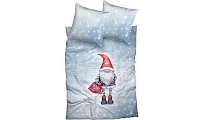CASATEX Bettwäsche »Timmi«, niedlicher Wichtel mit roter Mütze im Schneegestöber kaufen