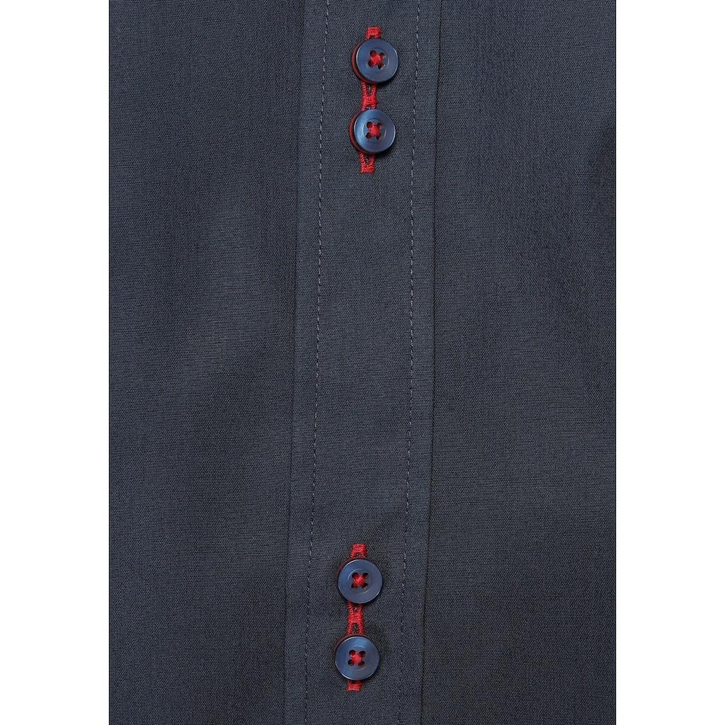 Bruno Banani Businesshemd, aufwendig gearbeitete Knopfleiste, bügelfrei