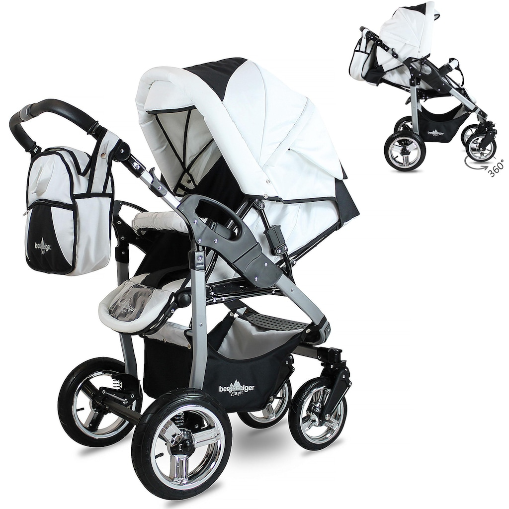 bergsteiger Kombi-Kinderwagen »Capri, grey & red stripes, 3in1«, 15 kg, Made in Europe; Kinderwagen