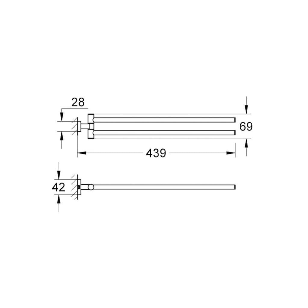 Grohe Doppelhandtuchhalter »Essentials Cube«, schwenkbar, 2-armig