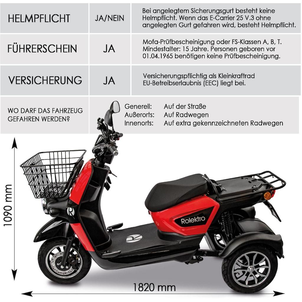 Rolektro Elektromobil »Rolektro E-Carrier 25 V.3 Lithium ohne Koffer«, 1000 W, 25 km/h, (Korb)