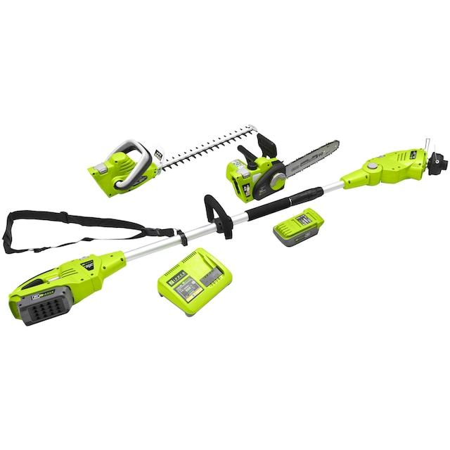 ZIPPER Gartenpflege-Set »ZI-GPS40V-AKKU«, Trimmer, Heckenschere, Astsäge, Akku und Ladegerät