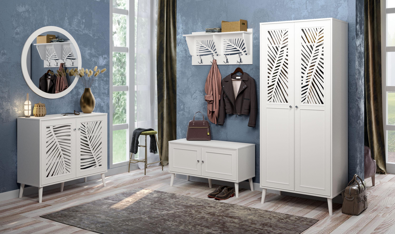 Home affaire Bank Tropical, Metallgriffe mit Kristall Swarovski, Breite 98,5 cm weiß Hocker, Bänke Truhen Garderoben Nachhaltige Möbel