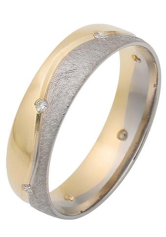 Firetti Trauring mit Gravur »glanz, eismatt, Diamantschnitt in Wellenoptik, bicolor,... kaufen