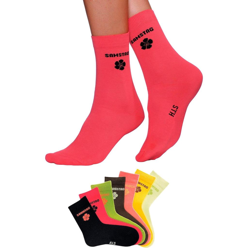 H.I.S Socken, (7 Paar), für Kinder mit Blumenmotiv