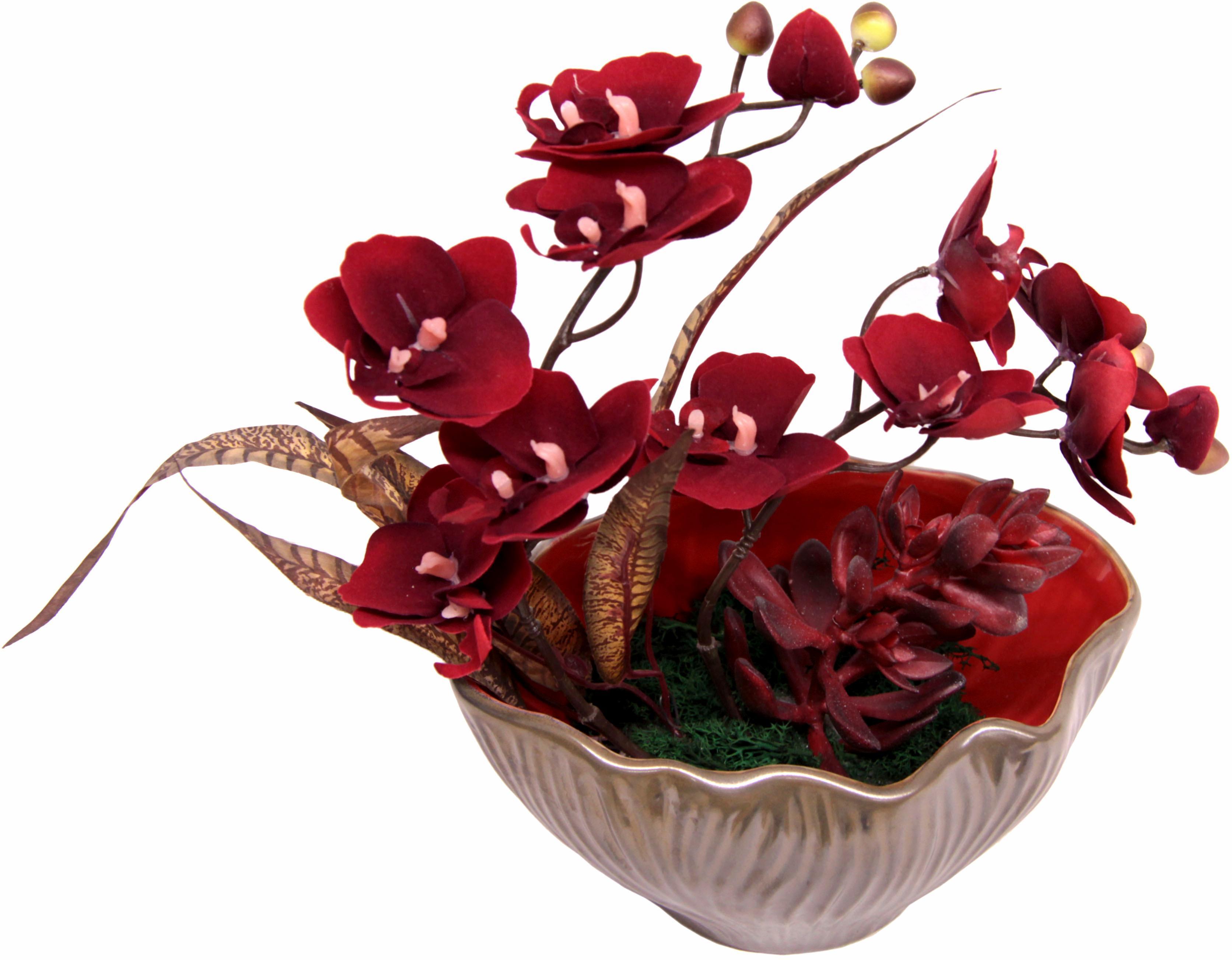 Kunstpflanze Gesteck aus Orchidee, rot