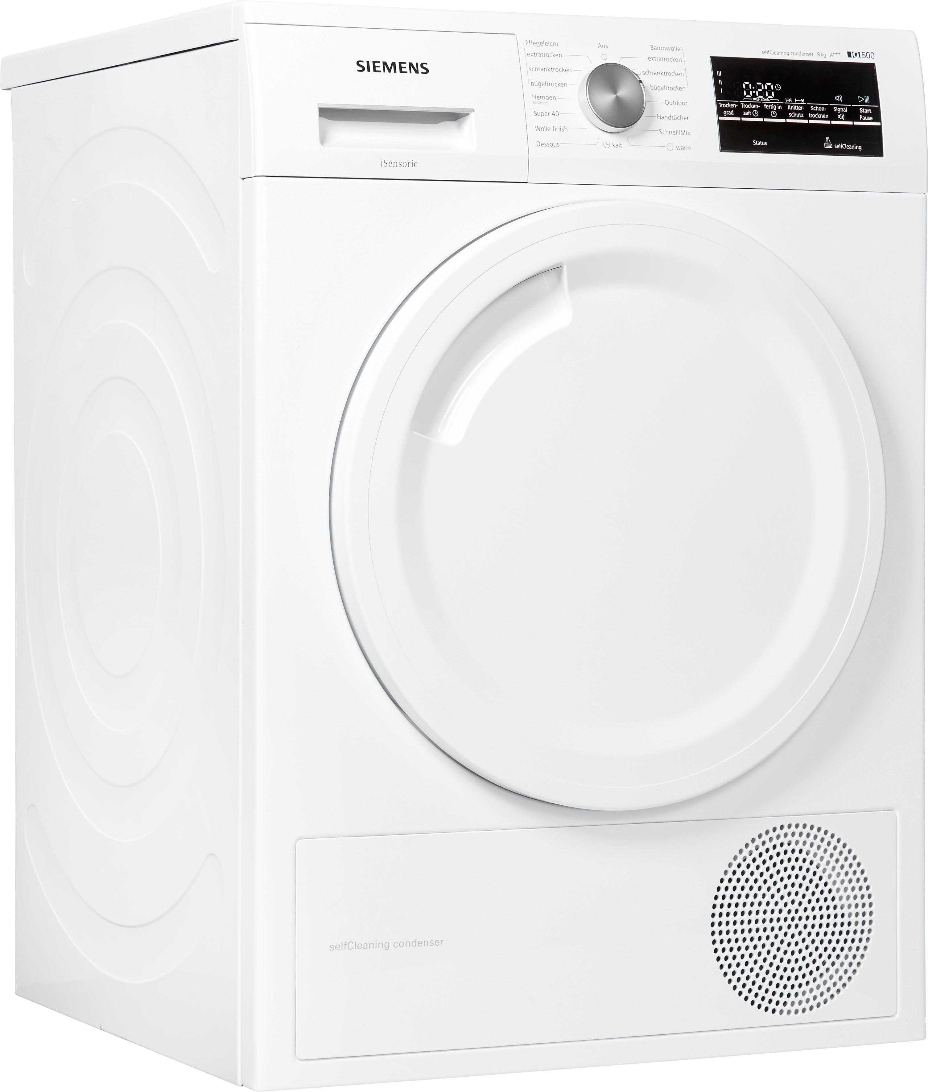 SIEMENS Wärmepumpentrockner iQ500 WT44W4A3 8 kg | Bad > Waschmaschinen und Trockner | Weiß | Siemens