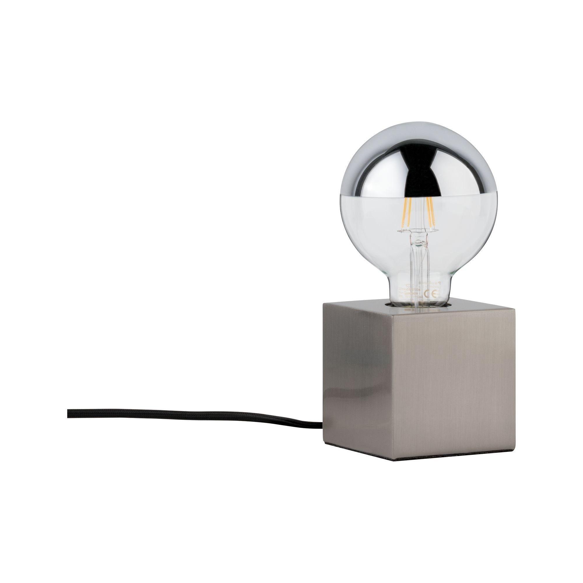 Paulmann LED Tischleuchte Kura Eisen gebürstet, max. 20W E27, E27, 1 St.