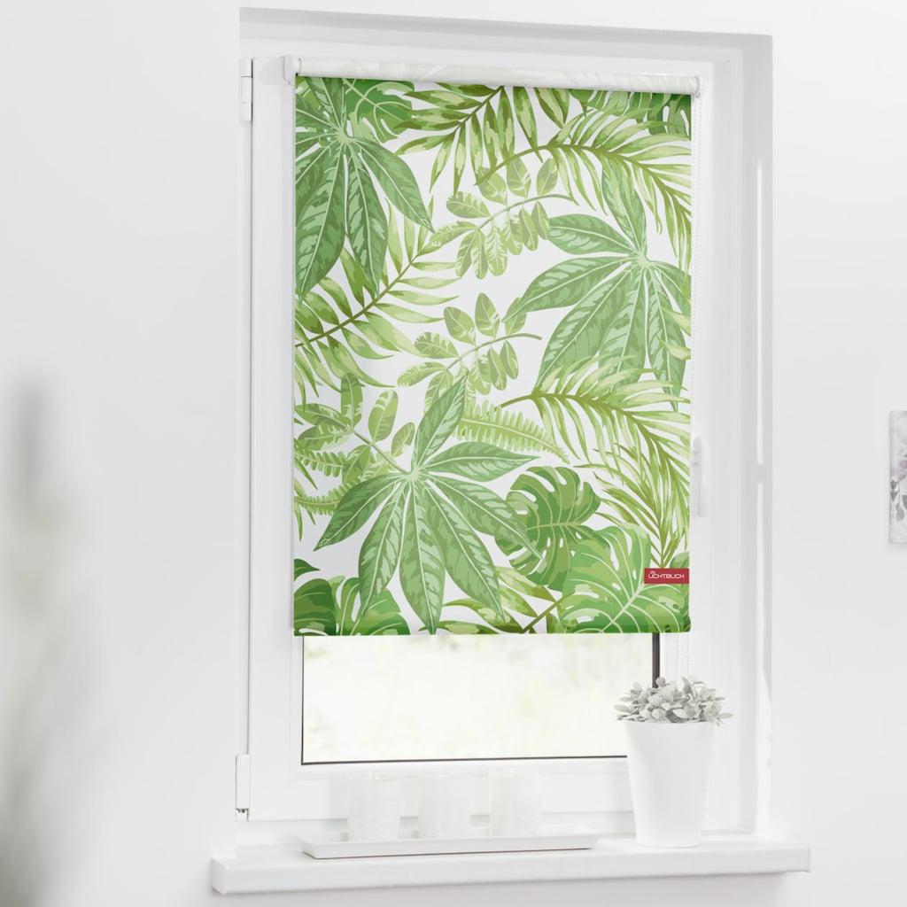 LICHTBLICK ORIGINAL Seitenzugrollo »Rollo Klemmfix, ohne Bohren, blickdicht, Blätter - Grün«, blickdicht, Sichtschutz-Blendschutz, freihängend