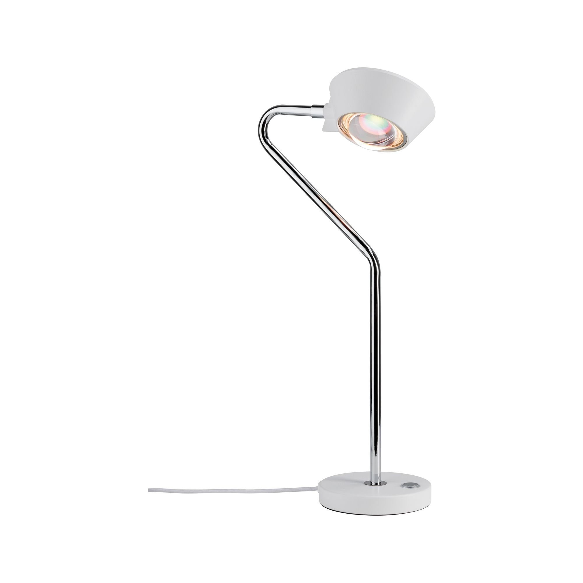 Paulmann LED Tischleuchte Ramos 8W Weiß matt/Chrom mit Touchdimmer, 1 St., Warmweiß