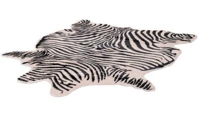LALEE Teppich »Rodeo 200«, fellförmig, 17 mm Höhe, Zebra-Optik, Wohnzimmer kaufen