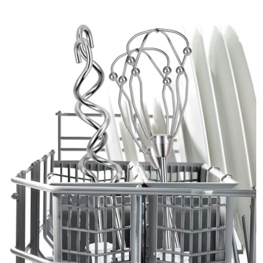 BOSCH Handmixer »Styline MFQ4075DE«, 550 W, leicht & leise, 2 FineCreamer Rührbesen, 2 Knethaken aus Edelstahl, 2 Turbobesen, 5 Geschwindigkeitsstufen, Turbostufe, Pürierstab, silber / weiß