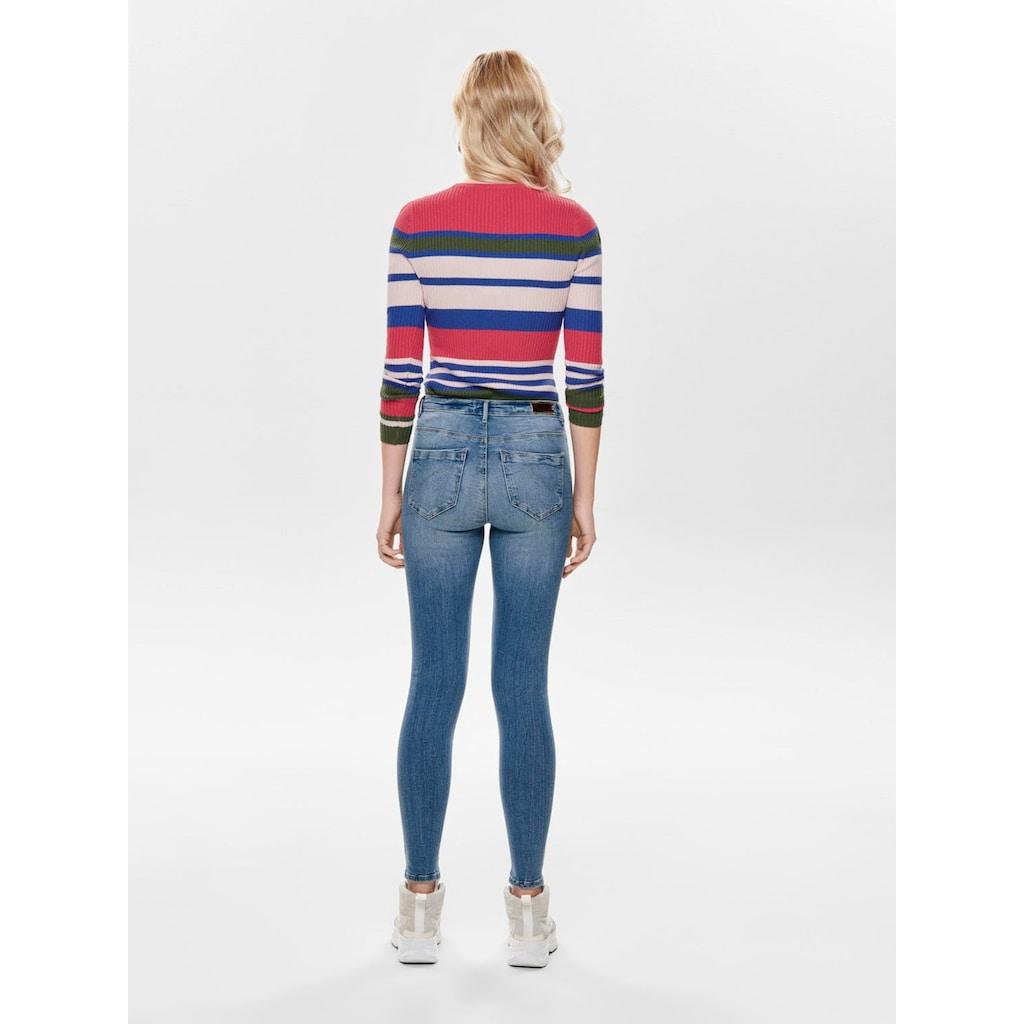 Only High-waist-Jeans »ONLPAOLA«, mit leichten Destroyed Effekten