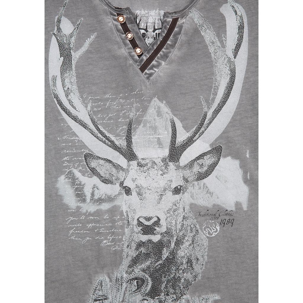 MarJo Trachtenshirt, mit abgebildetem Hirsch und Schriftzüge