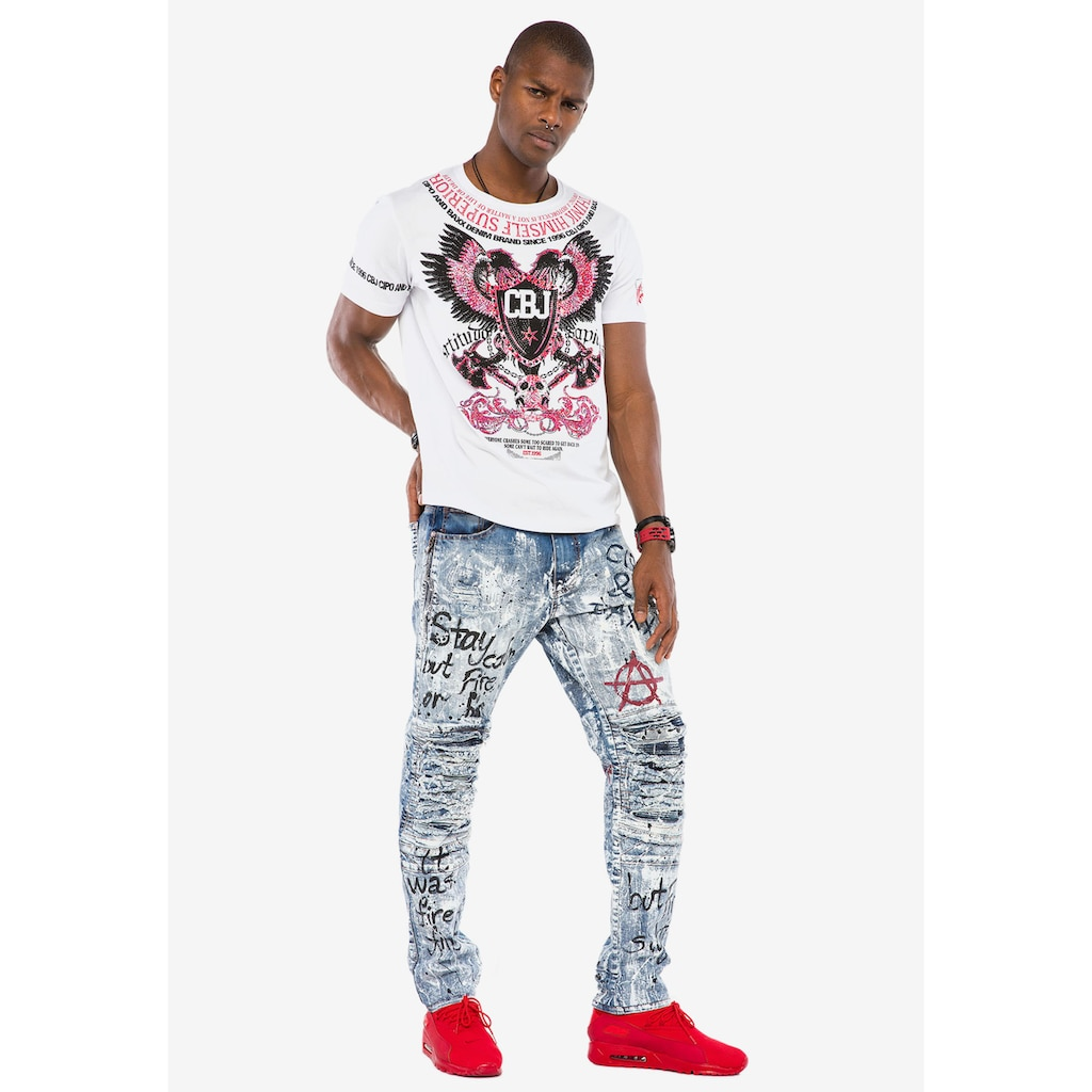 Cipo & Baxx Slim-fit-Jeans, im coolen Destroyed-Look n Straight Fit
