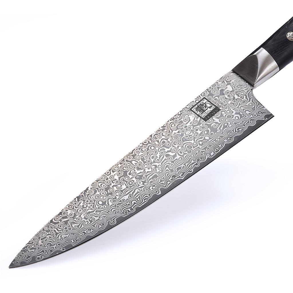 ZAYIKO Damastmesser »Black Edition«, (Chefmesser), japanischer Damaststahl