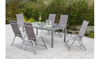 MERXX Diningset »Taviano«, 7 - tlg., 6x Klappsessel, Ausziehtisch 140 - 200x90cm kaufen